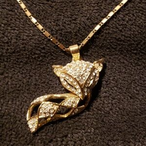 Gold Fox Necklace & Earring Set